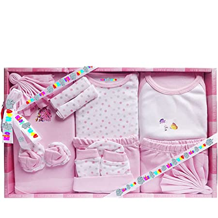 EIO 13 Pcs New Born Baby Gift Set (Pink)- 13 Pieces
