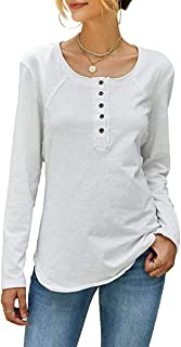 Womens Long Sleeve Tunic Tops Button Up Blouses Henley Casual Crew Neck Shirts