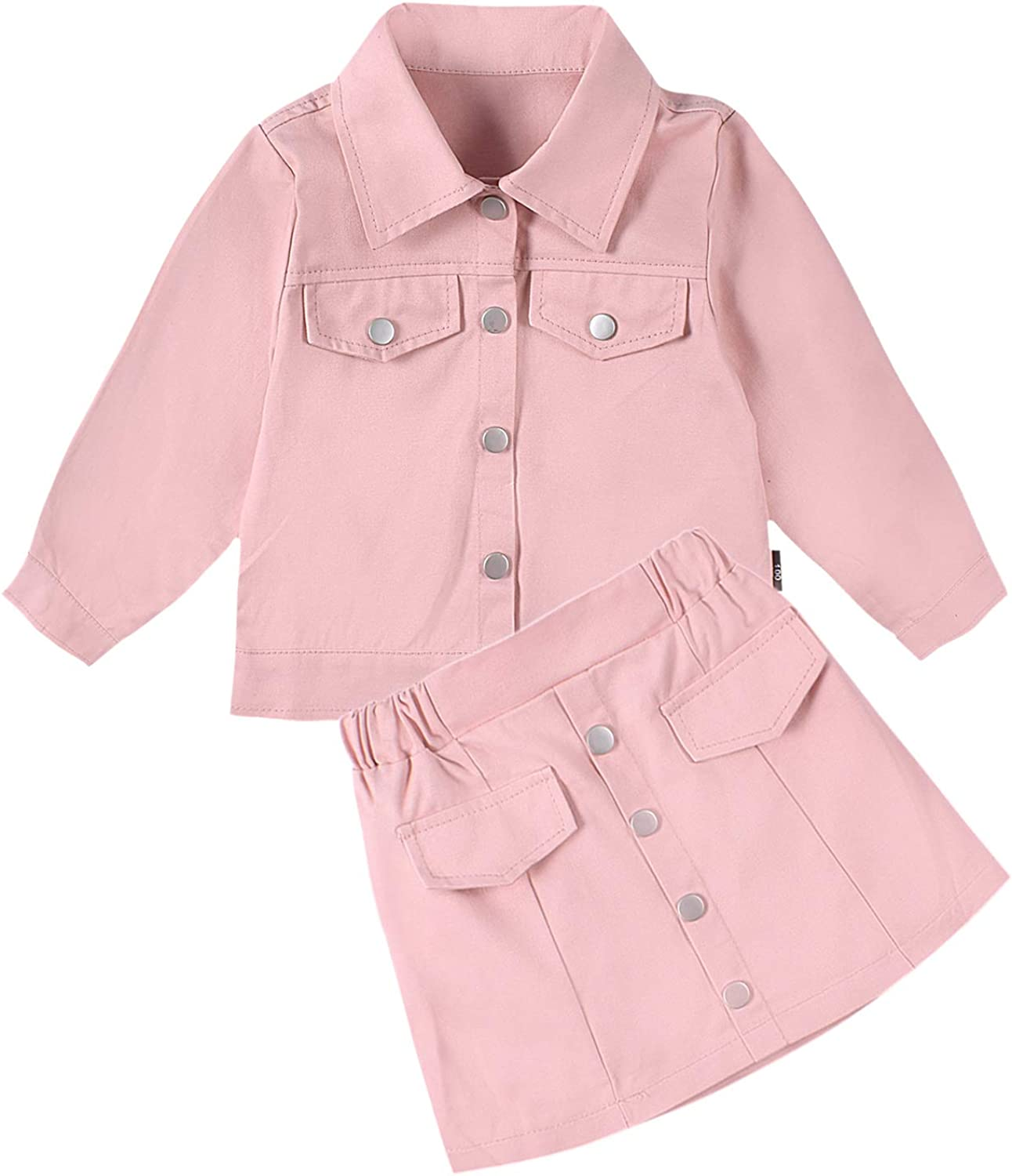Toddler Girls Clothes Set Fall Winter Outfits 2Pcs Button Jacket Coat and Skirt Sets Pink 3T: Clothing, Shoes & Jewelry