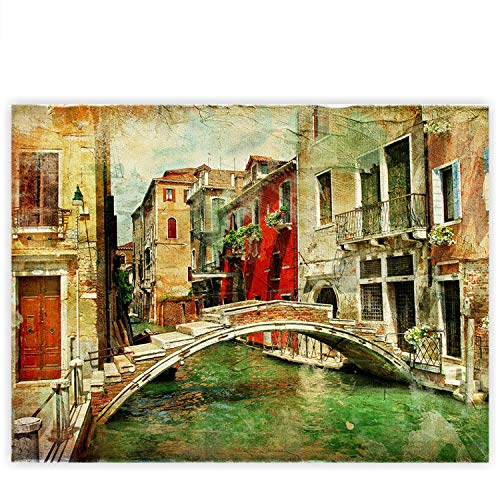Lienzo 100x 75cm–Top–Mural XXL de impresión Lienzo Pared Decoración Canvas–Great Venice–Canal de Venecia Italia Góndola Romantik Dibujo–No. 055, Multicolor, Premium Plus