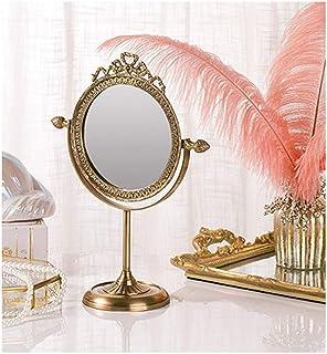 YXZQ Mirror Round Vanity Makeup Mirror, Desktop Antique Shaving Mirror, Handmade Full Brass Carved Crafts Beautiful Gift H...