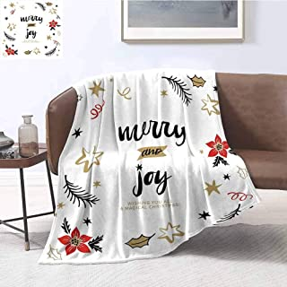 Luoiaax Joy Rugged or Durable Camping Blanket Christmas Themed Flowers Swirls Stars Celebratory Arrangement Merry Illustration Warm and Washable W60 x L70 Inch Camel Red Black