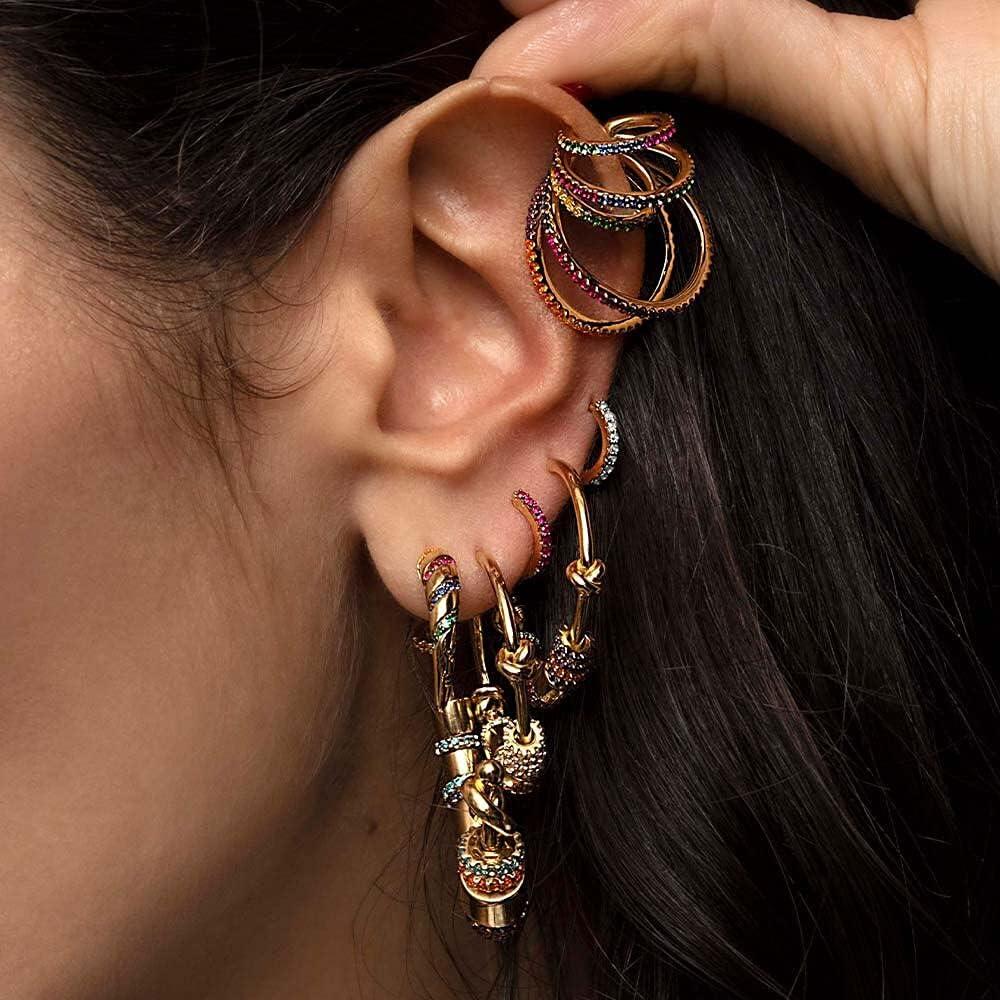 Itenice Multi-Turn Rainbow Ear Cuff Bohemia CZ Wide Stackable Earcuffs Crystal Ear Climber Clips on Earrings for Women Wedding
