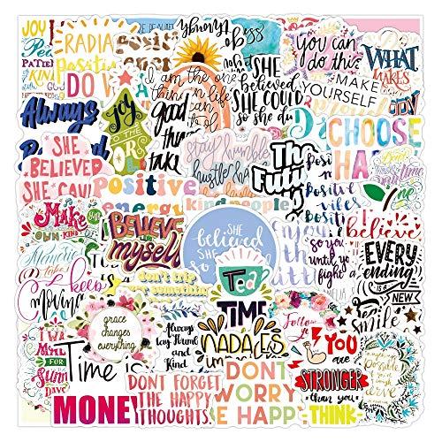 PMSMT 10/30/50 Piezas Pegatinas de Frases motivacionales Citas Impermeable d Frase a Prueba de Agua para teléfono monopatín portátil Oficina Sala de Estudio Graffiti calcomanía
