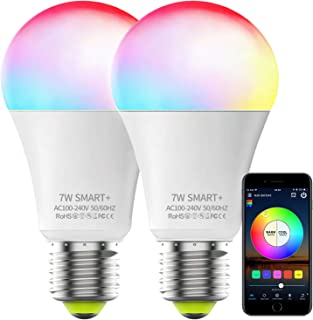Smart Bulb No Hub Required, Magic Hue A19 E26 7W (60w Equivalent) RGBCW Multicolor Dimmable LED WiFi Bulb, Works with Alexa Google Home and Siri (2 Pack)