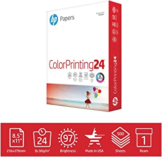 HP Printer Paper ColorPrinting 24lb, 8.5x 11, 1 Ream, 500 Sheets, Made in USA From Forest Stewardship Council (FSC) Certified Resources, 97 Bright, Acid Free, Engineered for HP Compatibility, 202000R