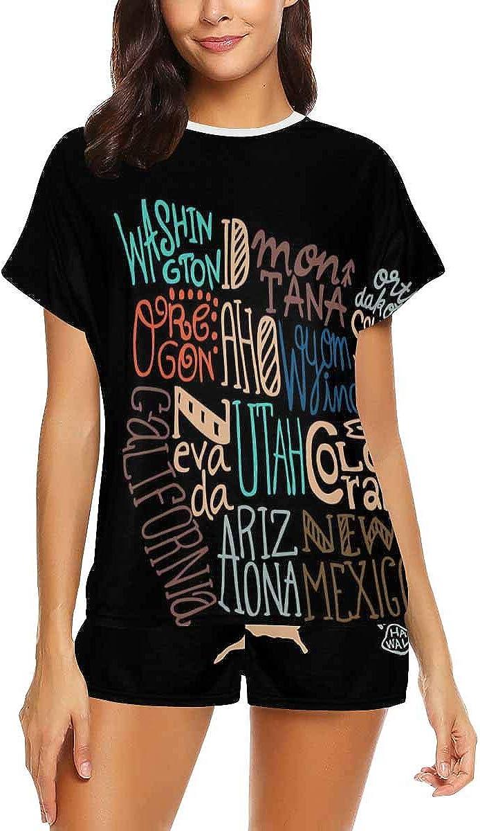 InterestPrint Doodle USA Map Women Sleepwear Short Sleeves Pajama Sets