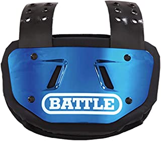 Battle Back Bone Back Plate – Rear Protector Lower Back Pads for Football Players – Backplate Shield with High Impact Foam Backing - Available in Youth and Adult Sizes, Blue/White Chrome