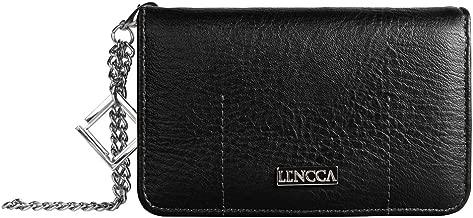 Lencca Kymira II Women's Eco Leather Wallet Purse Clutch for Apple iPhone 7, 6S, 6 (Black, Marine)