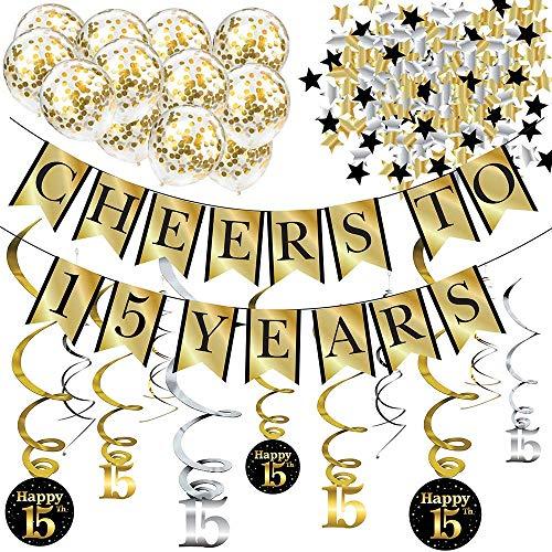 Sterling James Co. Decoraciones de Fiesta de 15 años y Kit de Aniversario – Pancarta Cheers to 15 Years, Globos, serpentinas y Suministros para la Fiesta Confeti.