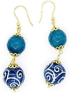 Orecchini con agata azzurra e sfere in ceramica di Caltagirone - Made in Italy