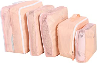5Pcs/Set Travel Storage Bags Luggage Packing Pouchs Cubes Organizers Multi-Functional Clothing Sorting Packages (Pink)