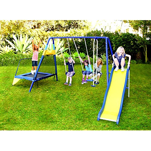 Skroutz Metal Swing Set With Slide And Trampoline 5 Activities Play Center Durable Construction