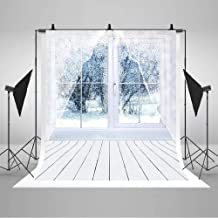 COMOPHOTO 6x8ft Winter Indoor Photography Backdrops White Wood Floor Window Scenery White Snow for Photo Booth Studio Photo Background Printed