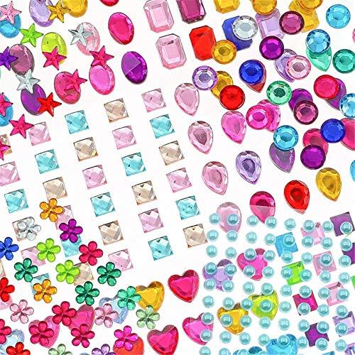 YIQIHAI 1388pcs Rhinestones Stickers Jewels Stickers Self Adhesive Muticolor Crystal Gems Flatback Rhinestone for DIY Craft, Assorted Size