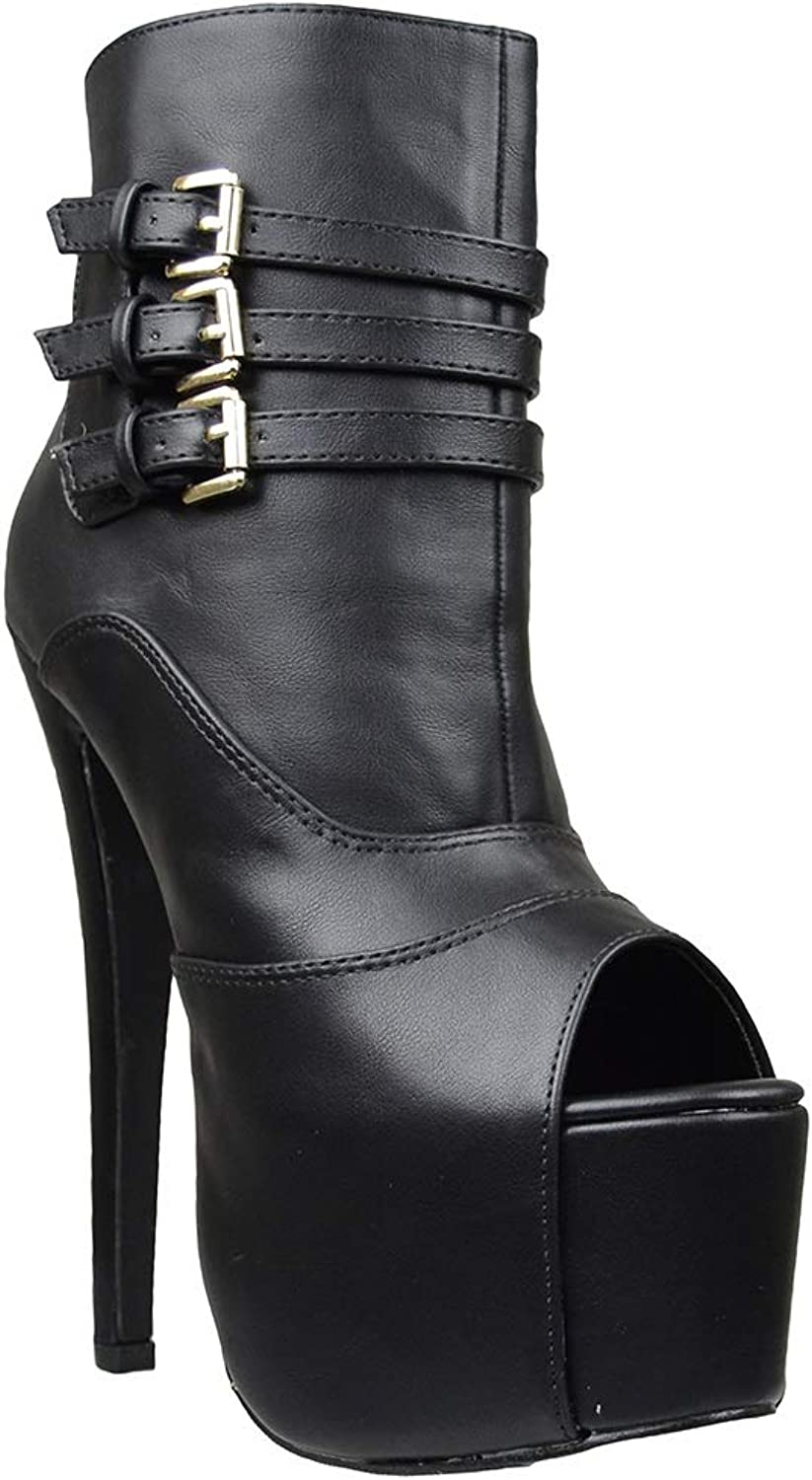 Generation Y Womens Ankle Boots Peep Toe Stacked Buckle Sexy Dress shoes Black