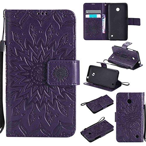 pinlu® PU Leder Tasche Etui Schutzhülle für Nokia Lumia 630 635 Lederhülle Schale Flip Cover Tasche mit Standfunktion Sonnenblume Muster Hülle (Lila)