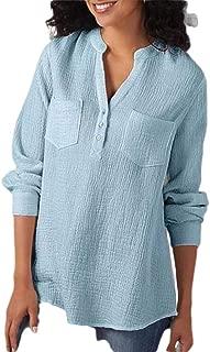 Macondoo Womens Basic Top V-Neck Blouse Long Sleeve Linen Shirts