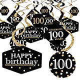 Big Dot of Happiness Adult 100th Birthday - Gold - Birthday Party Hanging Decor - Party Decoration Swirls - Set of 40