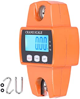 Báscula digital, anillo de acero inoxidable, gancho para colgar, pantalla LCD, portátil, 300 kg, aleación de aluminio, herramienta de pesaje para el hogar, negocios, color naranja