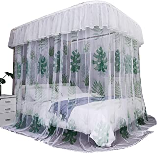 Wenset Luxury Gorgeous Decor Mosquito net, Romantic Lace Bed Canopy with Pulley Curtains Tent Bed Curtain, Mesh 300 Need Assembly-Green Queen