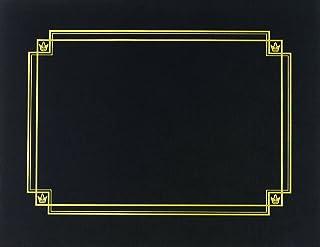 """优质纸张! 亚麻带金色箔证书封面 12""""x9.375"""" 黑色带金色"""