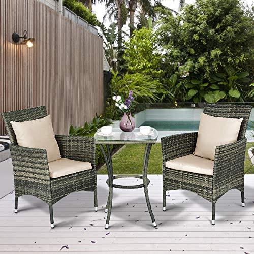 Tangkula AM0991HM 3 Piece Furniture Wicker Rattan Outdoor Patio Set, Grey