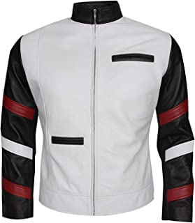 KAAZEE Mens Bruce Lee Vintage Style Slimfit White Classic Faux Leather Jacket