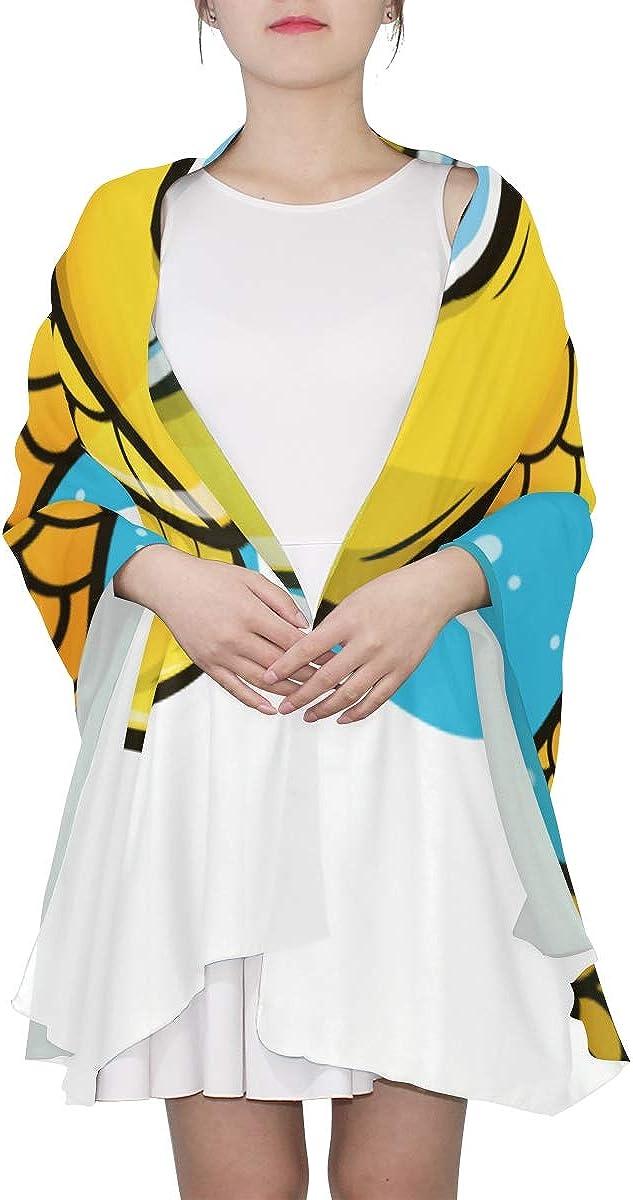 Fashion Scarf Lightweight Kawaii Cute Yellow Fish Lightweight Childrens Scarf Colorful Scarfs For Women Lightweight Lightweight Print Scarves Gifts For Women Scarf Fun Scarfs For Women
