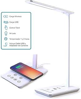 FLUX'S - Lámpara Escritorio LED con Carga Inalámbrica Wireless y Puerto USB, Flexo de Lectura con 4 Modos y 10 Niveles de ...