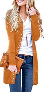 MEROKEETY Women's Long Sleeve Snap Button Down Solid...