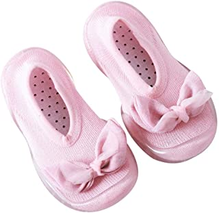 Dolloress Soft Rubber Shoes Baby Socks Slippers with Anti-Slip Bottom Bow Tie Decor for Newborn Baby Boys Girls Toddlers for Kids 12 to 24 Months 2-6 Years