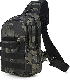 Huntvp Taktisch Brusttasche Military Schultertasche mit Wasserflasche Halter Chest Sling Pack Molle Armee Crossbody Bag Militärisch Umhängetasche Mini Single Strap Rucksack für Reisen Wandern Camping