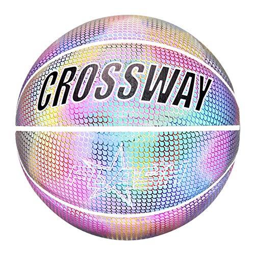 ONEVER Holographische leuchtende reflektierende Basketball, leuchtende blinkende Basketball Nr. 7 für den Nachtsport, leuchten Kamera Blitz im Dunkeln leuchten, Kinder, bunt schwarz