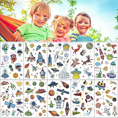 Comius Sharp Kinder Tattoos Set, 10 Set Weltraum Temporäre Tattoos Aufkleber Weltraum Kindertattoos Kindergeburtstag Party Mitgebsel Geschenk für Mädchen Jungen
