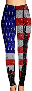 Cyloten Statue of Liberty American Flag Yoga Pants Washable Legging Tights Quick Dry Sportswear for Women Girl Workout