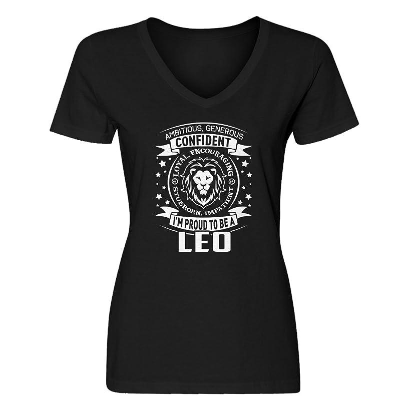 Indica Plateau Womens Leo Astrology Zodiac Sign Blank V-Neck T-Shirt