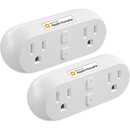 meross Smart Plug Dual Wi-Fi Outlet Plug 2 in 1, Support Apple HomeKit, Siri, Alexa, Echo, Google Assistant and SmartThings, Voice & Remote Control, Timer, No Hub Required, 2 Pack