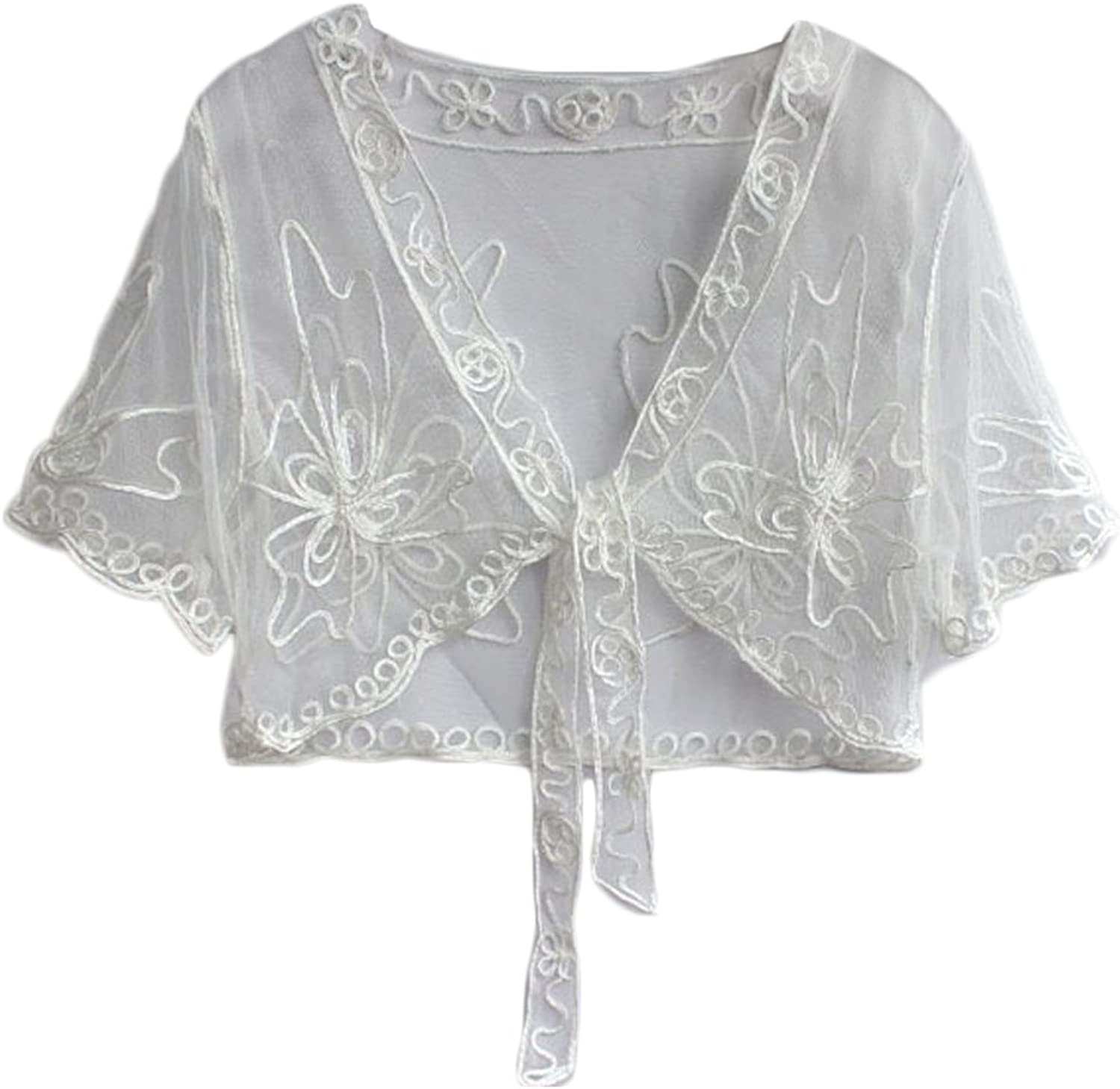 Women Lace Shrug Floral Tie Front Short Sleeve Daily Cropped Cardigan