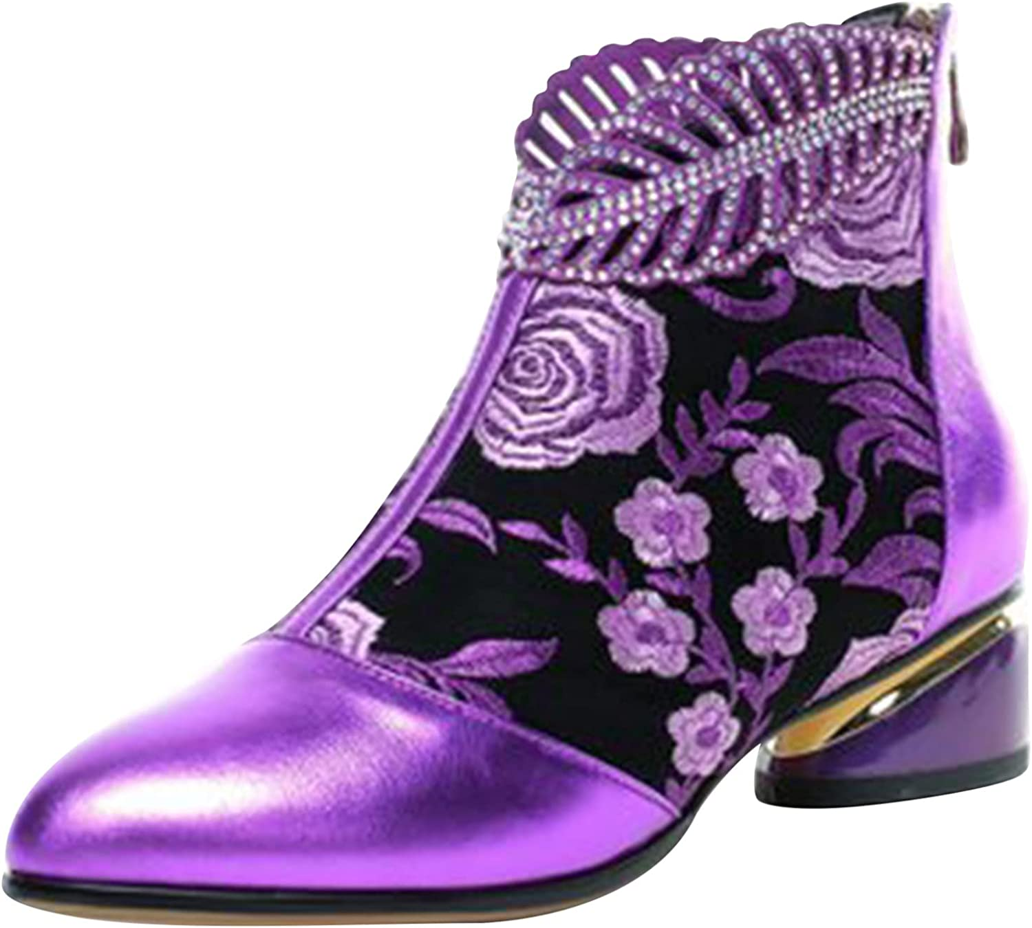 Boots for Women,Western Boots for Women Ankle Booties Women's Pointed Toe Ankle Bootie Vintage Embroidery Zipper Chunky Heel Short Naked Boots with Heel,Motorcycle Boots