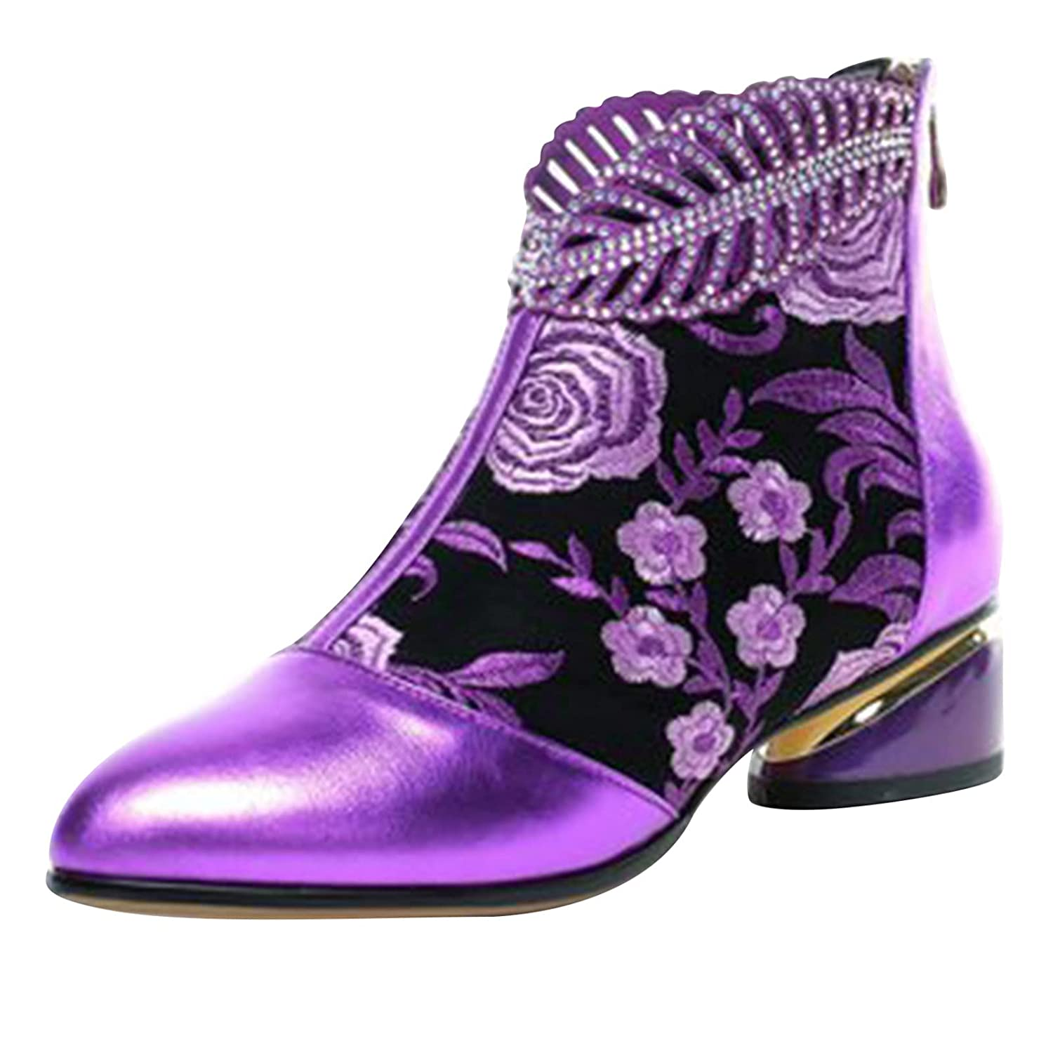 Padaleks Women's Vintage Embroidery Ankle Boots All items free shipping Closed Pointed T Columbus Mall
