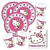 Juego de 52 piezas para fiesta de Hello Kitty, platos, vasos y servilletas para 16 niños