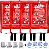 JJ CARE Fire Blanket for Home 40'x40' + 4 Hooks & 4 Gloves, Fire Suppression Blanket, Emergency Fire Blanket for People, Fire Blanket Kitchen Emergency Use - White