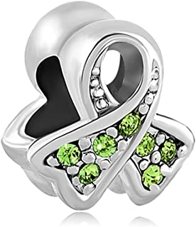 ThirdTimeCharm BreaSt Cancer Awareness Ribbon Charm European Bead with Light Green Crystals