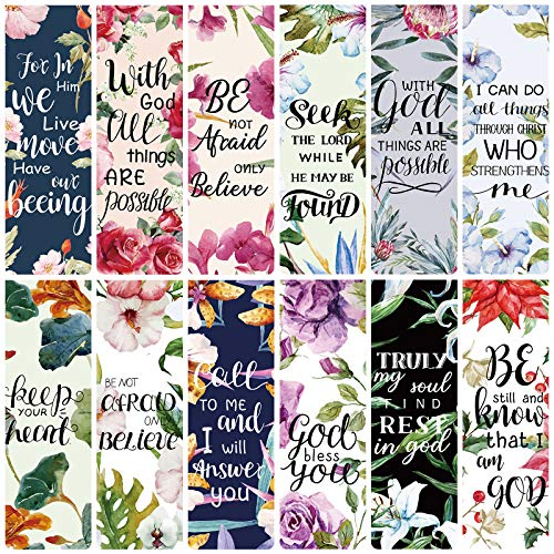 36 Pieces Bible Verse Magnetic Bookmarks Inspirational Scripture Bookmark Encouraging Positive Flower Magnetic Page Clips Bookmark for Students Teachers School Home Office Supplies Present