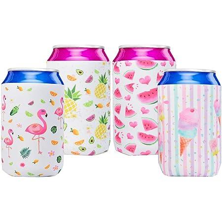 4 estilos Juego de 4 fundas para latas de cerveza delgadas de 12 onzas para latas de cerveza de caf/é helado divertido camping al aire libre AYWFEY