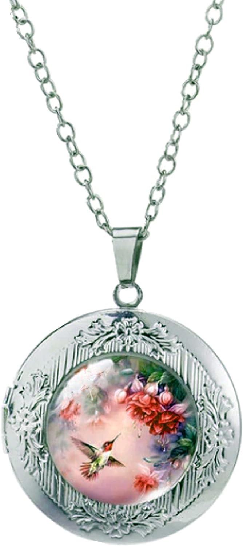 Locket Necklace Hummingbird Roses Regular NEW before selling ☆ dealer and