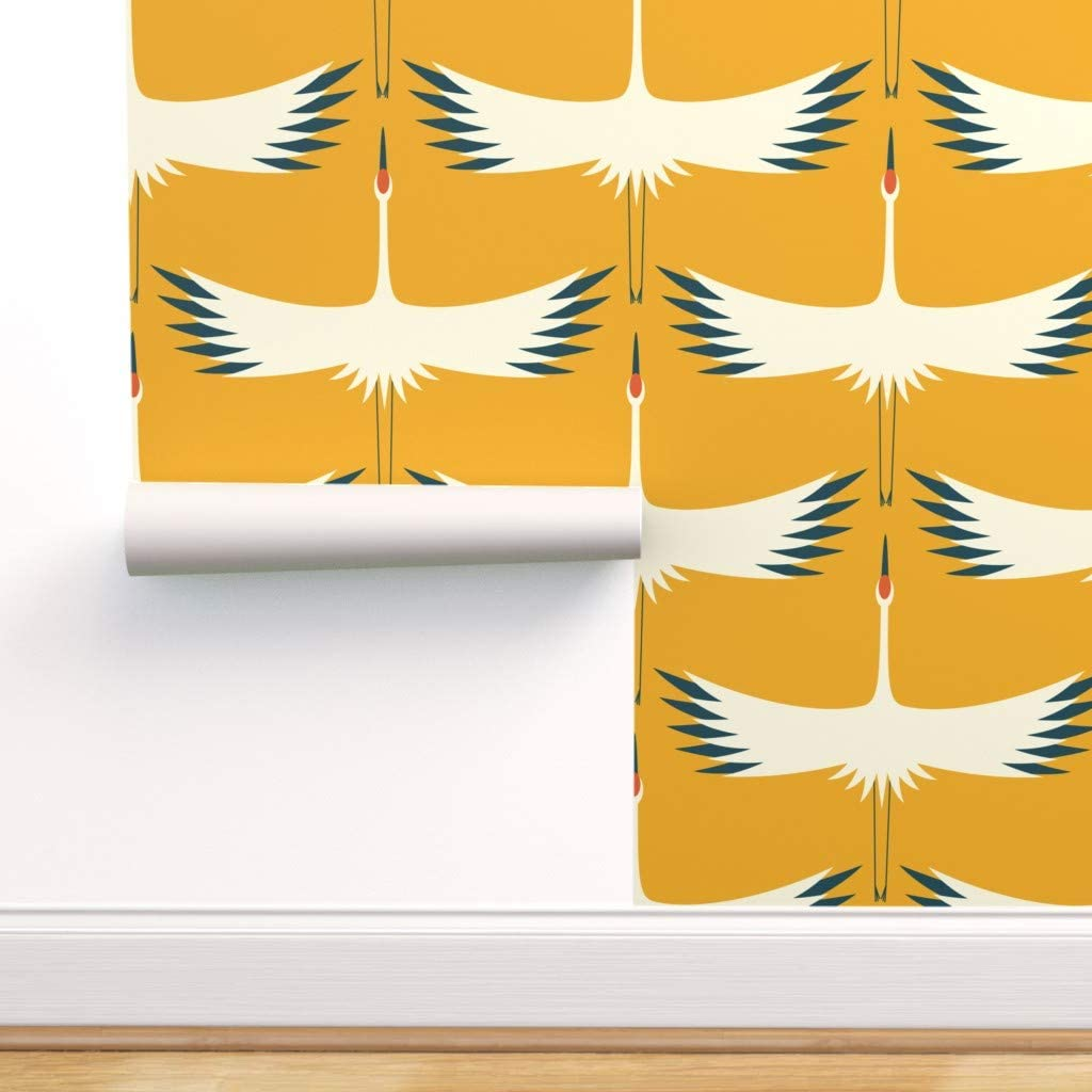 Spoonflower Peel and Outlet SALE Stick Wallpaper Endangered Crane Removable Ranking TOP11