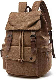 "SPAHER Canvas 15.6"" Laptop Backpack Unisex Vintage Leather Casual Daypack School College Bag Hiking Travel Rucksack Business Daypack Holdall Weekend Overnight Outdoor Satchel Boys Girls Brown"