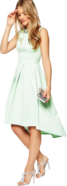 Datangep Women's Beaded Neck ALine Satin Asymmetrical KneeLength Party Dress